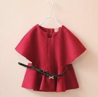Wholesale 2 color cloak girls fashion belt Woolen cloth coat New style autumn Winter children clothes comfortable warm baby s coat A20