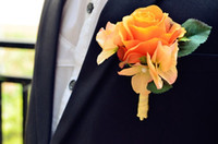 Cheap Wedding Dresses flowers real Touch The rose Corsages Handmade Groom's Boutonniere For Wedding party orange purple color pink white