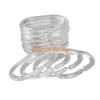 Wholesale Pack of Plastic Clear C Type Bathroom Shower Curtain Liner Hooks Rings