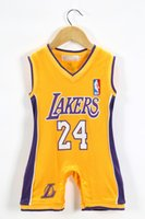 toddler jerseys - Summer new baby boy romper lakers jersey baby jumpsuit sleeveless shorts one piece toddler costume age set ab980