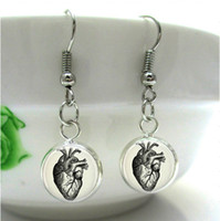 Wholesale HE74 White Anatomical Heart Danger fish hook Earrings Anatomy Charm pendant Silver bronze glass cabochon Anatomical Jewelry