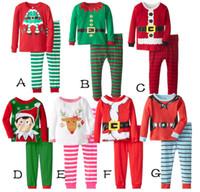 Wholesale Christmas baby clothes autumn winter new cartoon stripes children s pajamas long sleeve pants boys suit Wl monsoon set A20