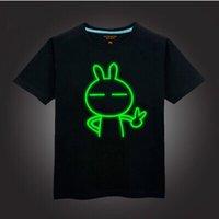 cotton night shirt - 2015 NEW boy t shirt cotton children summer wear kid s hip hop Neon Print t shirt Party Club Night light punk t shirt C123