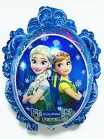 Wholesale 1PCS Balloons Princess Elsa Anna Blue Inflatable Air Foil Balloon Blue Party Supplies Toys Christmas Kid Birthday Decoration Z