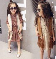 Wholesale 2016 New Kids spring and autumn Tassel Waistcoat Children Clothing Fashion Casual Tassel Coat Vest VM