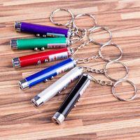 Cheap Mini Flashlights 2 in 1 laser pen multifunction LED Light xmas 1mW Beam Red Laser Pointer Pen with Keychain Flashlight