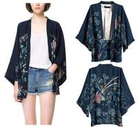 Wholesale Flower Bird Print Japan Kimono Batwing Sleeve Cardigan Cape Women Irregular Chiffon Coat Tops S M L