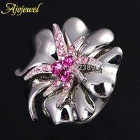 Wholesale 2014 Fashion Jewelry Latest K White Gold Plated Pave CZ Diamond Large Cryatal Flower Rings For Women