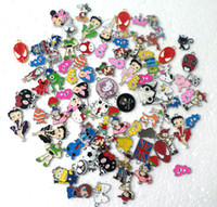 enamel charms - 50 Hot Sale Cartoon Mix looswe style zinc alloy metal enamel charms metal enamel pendant
