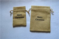 Wholesale JLB Faux jute Hessian Mini burlap bags Christmas Gift bags with logo Marry Christmas