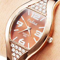 rose - Fashion High grade Ladies Rose Gold Bracelet Watch Bangle Rhinestone Crystal WristWatch Working Women Watch Luxury Watches