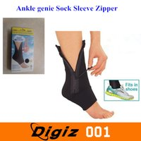Wholesale Ankle Genie Ankle Support Compression Sock Sleeve Zipper Up Fit in Shoes Black One Size Fits All