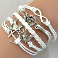 anchor jewellry - Hot Retro Infinity Charms Anchor Birds Music symbol Bracelet Personality Bracelets Handmade Jewellry DHL