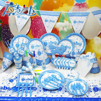 Wholesale Party Decoration SET Baby Boy Blue Birthday Party Supplies Banquet Theme Sets K007