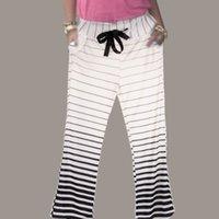 Wholesale Fashion Women s Stripe Casual Stretch Pants Wide Leg Long Loose Palazzo Trousers S XL PTSP