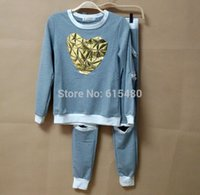 sweatsuits - New tracksuit woman s Sets jumper sweatshirt pants one set gray Sport suits golden heart Hollow Sweatsuits Sweats Suit Costume