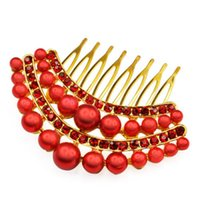 Wholesale IMC Stunning Bridal Wedding Crystal Pearl Rhinestones Pearls Hair Comb Clip Red order lt no track