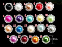 Wholesale MM flat back crystal pearl button Clear Rhinestone Craft Embellishments DIY button For Hair Flower Wedding Invitation