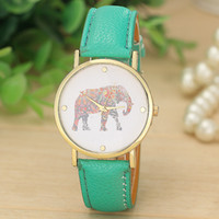 Wholesale 100pcs women elephant design flower printing ladies leather PU wrist watch fashion dress quartz watches