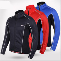 Wholesale Winter Thermal Fleece Windproof Waterproof Long Sleeve Cycling Jersey Clothing Wear Reflective Cycling Jacket Blue Red Black M XXL