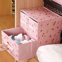Wholesale Lace small Dot Underwear storage drawer two layer three drawers Non woven folding home storage drawer