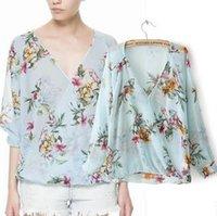 Cheap New Spring 2014 fashion ladies chiffon s print floral and birds shirts Casual Loose women shirt dudalina