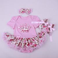 Wholesale year old Female Baby Birthday Dress Newborn Cotton Siamese Climbing Clothes Princess Tutu Dress Baby Girl Romper Dress