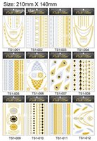 Wholesale Temporary Tattoo Sexy Non Toxic Waterproof Flash Tattoos Sticker New Metallic Golden Silver Body Art Tattoo Jewelry x14cm Styles TS001