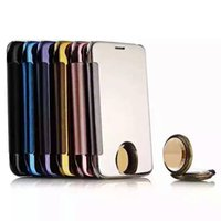 apple mirror display - Clear view cover Display smart touch PC flip cover mobile electroplating mirror Note5 S6 edge S7 edge S6 edge S5 A9 A310 S SE LG G5 pouch