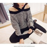 knit wear - 2014 New Fashion Sexy Slash Neck Women Knitted Sweater Two Wearing Strapless Sweater