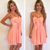Cheap 2015 New Bow Bra sexy chiffon dress mini dress toast clothing evening dress 61719