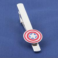 Wholesale Captain American Metal Tie Clips Super Hero Tie Clips Men s Jewelry Tie Clips League of Avengers Accessories Movie Jewelry Statement Jewelry