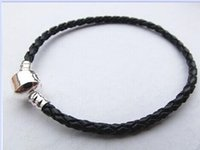 silver wire - New fashion DIY Pandora Style Leather Cord Bracelet Silver Plated Multiple Cord Wire