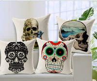 wholesale cushion covers - 2014 New Printing Colorful Cushion Cover Watercolor Skull Headdress Throw Pillow Cover Sofa Cover Decorative Pillows