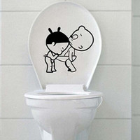 Cheap 1 Pcs New Cute Kids Bathroom Wall Decro Paper Decorating Sticker Toilet Stickers Decals Home Decoration