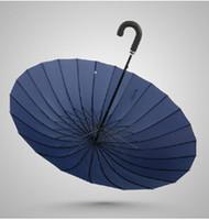 Wholesale Rib Firm Solid Windproof Paraguas Long Handle Sun rain parapluie large outdoor umbrella Manual big parasol
