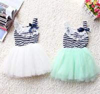Wholesale Summer New Stripe girls dress Lace Collar Gauze Girl Princess Dress T