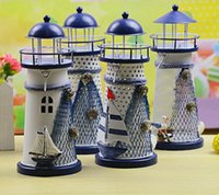 Wholesale Candle Holders Zakka Metal Lantern Mediterranean Style Lighthouse Sea Bird Fish Net Star Sailing Boat Hand Made Iron Candle Stand I3194