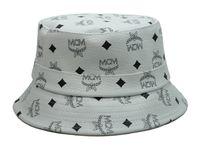 Wholesale 2015 Hot Sale MCM Bucket Hats Soft PU Leather White Basin Cap Flat Wide Brim Fashion MCM Hats