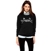 Atacado-2015 Inverno Outono S-XL Mulheres Negras Casual Meow Emoji Sweater Impresso solta algodão manga comprida capuz Tops para a roupa de senhora