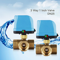 Wholesale DN25 G1 quot Way V Motorized Valve Electric Actuator Valve Cold hot Water Motorized Ball Valve for Water Control System