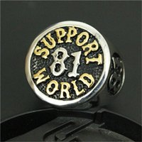 asian support - 1pc Fast Shipping New Support World Golden Ring L Stainless Steel Man Boy Fashion Band Party Biker Ring