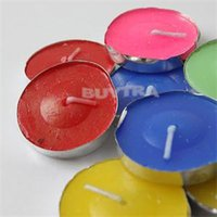 Wholesale 2014 New Fashion Party Wedding Wide Unscented Colorful Tea Light Beeswax Candles