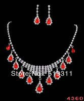 Cheap Wholesale-High Quality necklace earring Costume Fancy wedding Party jewelry set Bride Wedding Rhinestone Jewelry Set Red series brisk sets