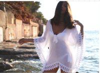 Wholesale White Chiffon Lace Edged Loose Women Clothing Summer Beach Smock on Bikini Summer Sun proof Swimwear Batwing Cover Up Dress OXL070306