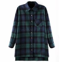 Cheap 2015 New Hot Loose Women Plaid Shirt Lapel Long Sleeve Casual Long Shirt Wool Blend Blouse Tops Outwear Overcoat Red Green B20
