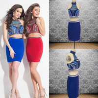 Wholesale Sexy Two Pieces Homecoming Dresses High Neck Royal Blue Homecoming Dresses Short Prom Dresses with Beads Rhinestones Under
