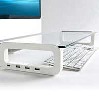 For Apple monitor stand - DHL shipping Tempered Glass Monitor Stand Shelf USB Multiboard for your PC iMac and iPhone Built in Port USB Hub waitingyou