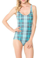aqua swimwear - REGINO KNITTING New Fashion BL Sexy Tartan Aqua Swimsuit Beach Swimwear Women Brand Swimming Clothing