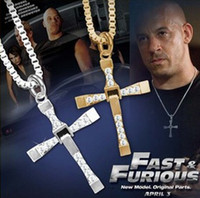 Bohemian cross necklaces - Hot Sale The Fast And Furious Mens Rhinestone Cross Crystal Pendant Chain Necklace Jesus Cross necklace Colors